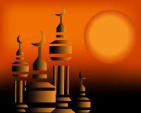Moskee in de zonsondergang   Stock Afbeeldingen
