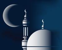 Moskee en maan Stock Foto