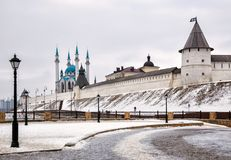Moskee Kazan het Kremlin en kul-Sharif stock foto's