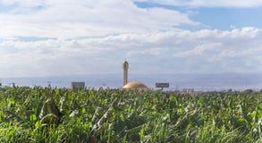Moskee met een minaret in een kleine kant van de wegregeling dichtbij de hoofdstad van Jordanië - Amman stock fotografie