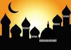 Moskee met halve maan stock illustratie