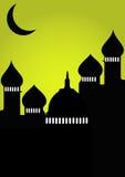 Moskee met maan stock illustratie