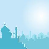Moskee met Toenemende maandageraad royalty-vrije illustratie