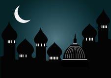 Moskee in nacht stock illustratie