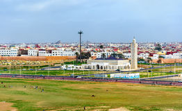 Moskee op het strand van Verkoop, Marokko Royalty-vrije Stock Foto's