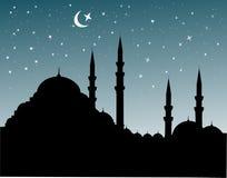 Moskee silhoutte stock illustratie