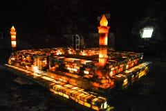 Moskee van zoute bakstenen binnen Khewra-mijn wordt gemaakt die Royalty-vrije Stock Afbeelding