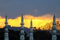 Moskee in zonsondergang Stock Foto