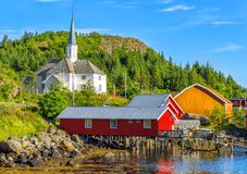 Moskenes Church in Moskenes fishing village in Lofoten Islands. Moskenes Church is a parish church in the municipality of Moskenes just north of Sorvagen in stock images