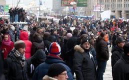 MOSKOU - 24 DEC: Het protest van de massa tegen verkiezing Stock Afbeeldingen