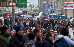 MOSKOU - 24 DEC: Het protest van de massa tegen verkiezing Stock Afbeelding