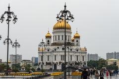 MOSKOU - AUGUSTUS 21, 2016: Kathedraal van Christus de Verlosser dichtbij het Kremlin op 21 Augustus, 2016 in Moskou, Rusland Royalty-vrije Stock Fotografie
