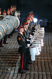 Rijen van slagwerkers van orkest van Universiteit van de Muziek van Moskou Suvorov de Militaire Stock Foto