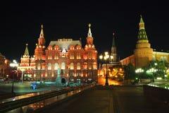 Moskou bij nacht Stock Afbeelding