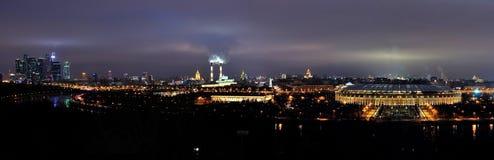 Moskou bij nachtpanorama Royalty-vrije Stock Foto's