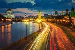 Moskou bij schemer Royalty-vrije Stock Fotografie