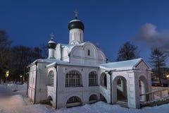moskou De Kerk van de Conceptie van Anna, het begin van de 16de eeuw Historisch district Zaryadye bij recente avond stock foto's
