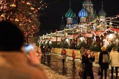 MOSKOU - DECEMBER 4, 2017: Kerstmis en Nieuwjaardecoratie op het Rode Vierkant Royalty-vrije Stock Fotografie