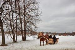 Moskou - 10 04 2017: Een mens in een vervoer met oranje paard, Mosc Royalty-vrije Stock Foto