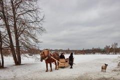 Moskou - 10 04 2017: Een mens in een vervoer met oranje paard, Mosc Stock Afbeeldingen