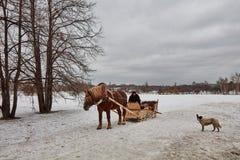 Moskou - 10 04 2017: Een mens in een vervoer met oranje paard, Mosc Royalty-vrije Stock Afbeeldingen