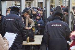 Moskou - Februari 26, 2017 Geheugen maart van gedoode politicus Boris Nemtsov Royalty-vrije Stock Foto
