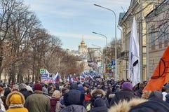 Moskou - Februari 26, 2017 Geheugen maart van gedoode politicus Boris Nemtsov Stock Fotografie