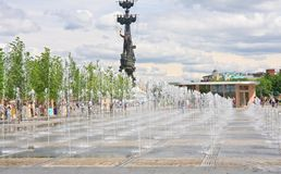 Moskou, fonteinen, Muzeon-park Royalty-vrije Stock Foto's