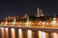 Moskou het Kremlin bij Nacht 1 royalty-vrije stock afbeeldingen