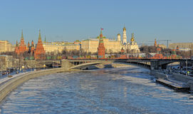 Moskou het Kremlin in de winter royalty-vrije stock fotografie