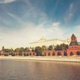 Moskou het Kremlin en de waterkant moskou royalty-vrije stock fotografie