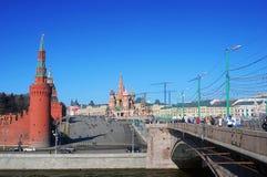 Moskou het Kremlin en Rood Vierkant panorama. Royalty-vrije Stock Afbeeldingen