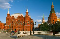 Moskou het Kremlin, het Historische Museum van de Staat Rood gebied stock afbeeldingen