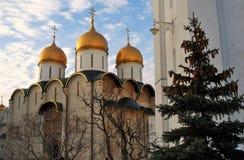 Moskou het Kremlin Kleurenfoto De Kerk van Dormition Royalty-vrije Stock Foto