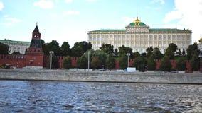 Moskou het Kremlin, Moskva-Rivierkade en het Grote Paleis van het Kremlin UHD - 4K 25 augustus, 2016 moskou Rusland stock videobeelden