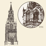 Moskou, het Kremlin, Rode Vierkante, Gegraveerde Illustratie Stock Fotografie