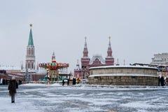 Moskou het Kremlin, Rood Vierkant, het seizoen van de de wintervakantie Royalty-vrije Stock Fotografie