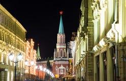 Moskou het Kremlin 's nachts,  Stock Foto