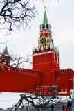 Moskou het Kremlin. Spasskayatoren, klok. royalty-vrije stock foto's