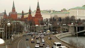 Moskou, het panorama van het Kremlin stock videobeelden