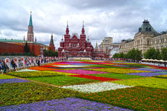 MOSKOU - JULI 21: Bloemfestival in Rood Vierkant ter ere van Stock Afbeeldingen