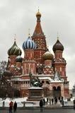 Moskou, Rood vierkant, mening van St Basilicum` s Kathedraal Royalty-vrije Stock Fotografie