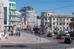 Moskou, Rusland - 09 21 2015 Algemene mening van Lubyansky-steeg en metro Kitay Gorod Royalty-vrije Stock Foto