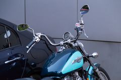 MOSKOU, RUSLAND - AUGUSTUS 17, 2018: De Schaduw Amerikaanse Klassieke Uitgave van motorfietshonda stock fotografie
