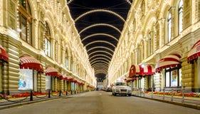 Moskou, Rusland - Augustus 02, 2017: GOM het beroemde warenhuis op het Rode Vierkant Royalty-vrije Stock Fotografie