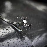 MOSKOU, RUSLAND - AUGUSTUS 26, 2017: Het close-up van glanzend chroom plateerde herten op de kap van de retro auto GAZ M21 Volga Royalty-vrije Stock Afbeelding