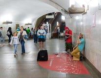 Moskou, Rusland - Augustus 31 2017 Muzikale groep - Vo-vekivechni - bij festival in metro Royalty-vrije Stock Foto