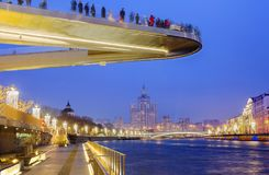 Moskou, Rusland, 12/16/2017, de Drijvende brug ` van ` in Moskou Royalty-vrije Stock Foto