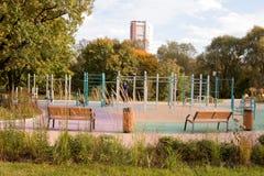 MOSKOU, RUSLAND, DE TUIN VAN DE TOEKOMST Speelplaats 2 van kinderen stock fotografie