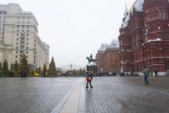 MOSKOU, RUSLAND - DEC, 2017: Kerstmis en Nieuwjaar op Manege-Vierkant De Seizoenen van festivalmoskou Royalty-vrije Stock Fotografie